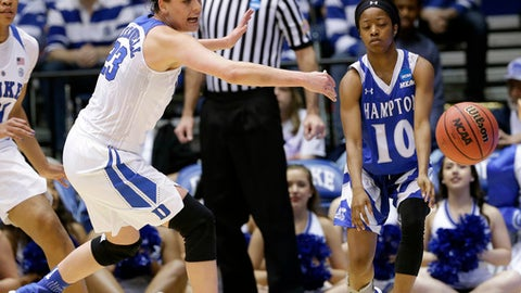 Duke's Rebecca Greenwell, left, guards Hampton's K'lynn Willis (10) during the first half of a first-round game in the NCAA women's college basketball tournament in Durham, N.C., Saturday, March 18, 2017. (AP Photo/Gerry Broome)