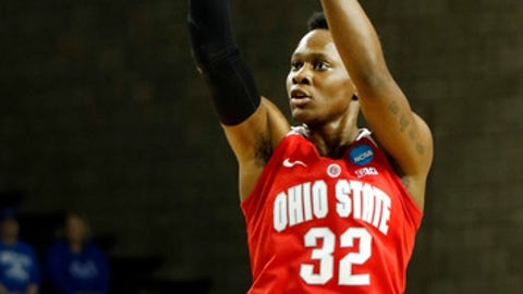 Ohio State's Shayla Cooper (32) takes an uncontested shot during a second-round game against Kentucky in the women's NCAA college basketball tournament in Lexington, Ky., Sunday, March 19, 2017. (AP Photo/James Crisp)