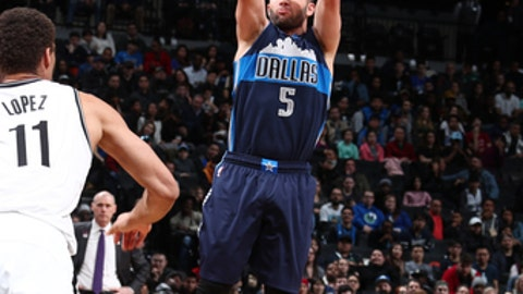 BROOKLYN, NY - MARCH 19:  J.J. Barea #5 of the Dallas Mavericks shoots the ball against the Brooklyn Nets on March 19, 2017 at Barclays Center in Brooklyn, New York. NOTE TO USER: User expressly acknowledges and agrees that, by downloading and or using this Photograph, user is consenting to the terms and conditions of the Getty Images License Agreement. Mandatory Copyright Notice: Copyright 2017 NBAE (Photo by Nathaniel S. Butler/NBAE via Getty Images)