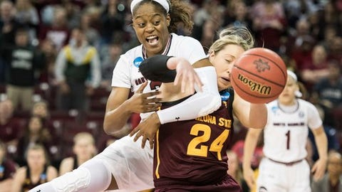 South Carolina guard Kaela Davis, left, battles for a rebound against Arizona State forward Kelsey Moos (24) during a second-round game in the NCAA women's college basketball tournament Sunday, March 19, 2017, in Columbia, S.C. (AP Photo/Sean Rayford)