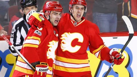 Calgary Flames' Mark Giordano, left, celebrates his goal against the Los Angeles Kings with teammate Mikael Backlund, from Sweden, during the second period of an NHL hockey game in Calgary, Alberta, Sunday, March 19, 2017. (Larry MacDougal/The Canadian Press via AP)