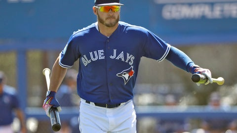 Toronto Blue Jays' Josh Donaldson runs to the dugout before a spring training baseball game against the Minnesota Twins Monday, March 20, 2017, in Dunedin, Fla. Donaldson is playing in his first game this spring. (AP Photo/Chris O'Meara)