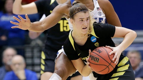 Duke's Lexie Brown guards Oregon's Sabrina Ionescu during the first half of a second-round game in the NCAA women's college basketball tournament in Durham, N.C., Monday, March 20, 2017. (AP Photo/Gerry Broome)