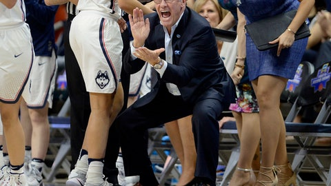 Connecticut coach Geno Auriemma applauds during the first half of the team's second-round game against Syracuse in the NCAA women's college basketball tournament, Monday, March 20, 2017, in Storrs, Conn. (AP Photo/Jessica Hill)
