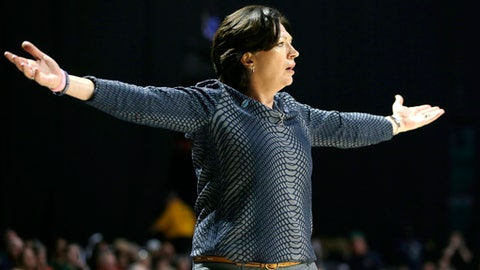 Miami head coach Katie Meier watches during the first half of a second round game in the NCAA women's college basketball tournament against Quinnipiac, Monday, March 20, 2017, in Coral Gables, Fla. (AP Photo/Lynne Sladky)
