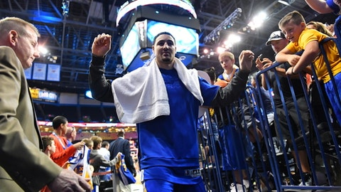 OKLAHOMA CITY, OK - MARCH 20: Klay Thompson #11 of the Golden State Warriors looks on against the Oklahoma City Thunder during the game on March 20, 2017 at Chesapeake Energy Arena in Oklahoma City, Oklahoma. NOTE TO USER: User expressly acknowledges and agrees that, by downloading and or using this photograph, User is consenting to the terms and conditions of the Getty Images License Agreement. Mandatory Copyright Notice: Copyright 2017 NBAE (Photo by Jesse D. Garrabrant/NBAE via Getty Images)