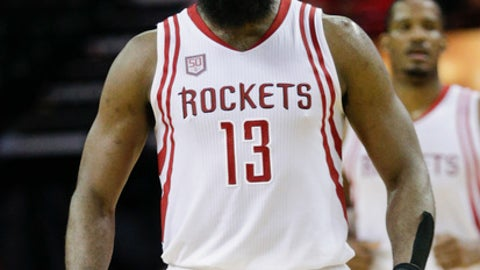 HOUSTON, TX - MARCH 20:  James Harden #13 of the Houston Rockets reacts after a three-point shot against the Denver Nuggets at Toyota Center on March 20, 2017 in Houston, Texas. NOTE TO USER: User expressly acknowledges and agrees that, by downloading and/or using this photograph, user is consenting to the terms and conditions of the Getty Images License Agreement.  (Photo by Bob Levey/Getty Images)