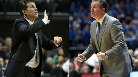 FILE - At left, in a Dec. 18, 2016, file photo, UCLA head basketball coach Steve Alford calls to his team during an NCAA college basketball game against Oregon, in Eugene, Ore. At right, in a March 12, 2017, file photo, Kentucky head coach John Calipari watches the action in the second half of an NCAA college basketball game against Arkansas for the championship of the Southeastern Conference tournament in Nashville, Tenn. UCLA and will meet in an NCAA college basketball regional semifinal in Memphis, Tenn., on Friday, March 24. (AP Photo/File)