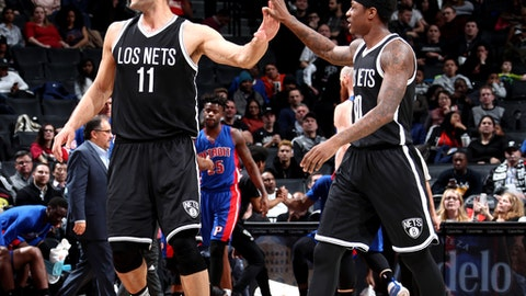 BROOKLYN, NY - MARCH 21: Brook Lopez #11 and Archie Goodwin #10 of the Brooklyn Nets react during the game against the Detroit Pistons on March 21, 2017 at Barclays Center in Brooklyn, New York. NOTE TO USER: User expressly acknowledges and agrees that, by downloading and or using this Photograph, user is consenting to the terms and conditions of the Getty Images License Agreement. Mandatory Copyright Notice: Copyright 2017 NBAE (Photo by Nathaniel S. Butler/NBAE via Getty Images)