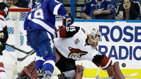 Arizona Coyotes goalie Louis Domingue (35) makes a block save on a shot by Tampa Bay Lightning left wing Ondrej Palat (18) during the third period of an NHL hockey game Tuesday, March 21, 2017, in Tampa, Fla. The Coyotes won the game 5-3. (AP Photo/Chris O'Meara)