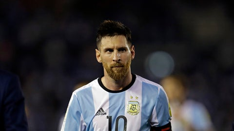 Argentina's Lionel Messi  leaves the pitch after a 2018 Russia World Cup qualifying soccer match between Argentina and Chile at the Monumental stadium in Buenos Aires, Argentina, Thursday March 23, 2017. Argentina won the match 1-0. (AP Photo/Victor R. Caivano)