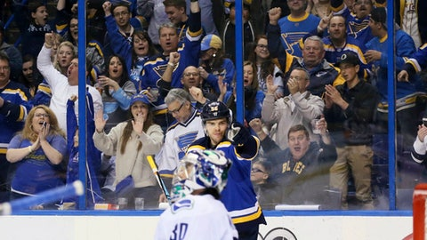 St. Louis Blues left wing Magnus Paajarvi points to teammate Patrik Berglund after Berglund assisted on Paajarvi's second goal of the night against Vancouver Canucks goaltender Ryan Miller, during the third period of an NHL hockey game Thursday, March 23, 2017, in St. Louis. (Chris Lee/St. Louis Post-Dispatch via AP)