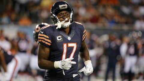 FILE - In this Sept. 19, 2016, file photo, then-Chicago Bears receiver Alshon Jeffery (17) runs off the field during the second half of an NFL football game against the Philadelphia Eagles, in Chicago. Several players in their 20s wound up with one-year contracts during NFL free agency. That group includes Jeffrey and Terrelle Pryor. Some think that is a viable option. Others think players should try to get longer deals. (AP Photo/Charles Rex Arbogast, File)