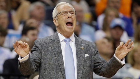 North Carolina head coach Roy Williams shouts to players in the second half of an NCAA college basketball tournament South Regional semifinal game against Butler, Friday, March 24, 2017, in Memphis, Tenn. (AP Photo/Mark Humphrey)