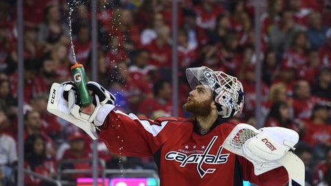 Washington Capitals goalie Braden Holtby (70) squirts water during the second period of the NHL hockey game against the Arizona Coyotes on Saturday, March 25, 2017, in Washington. (AP Photo/Molly Riley)