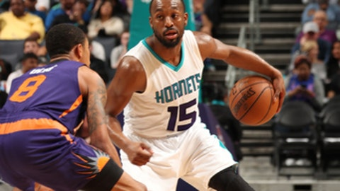 CHARLOTTE, NC - MARCH 26: Kemba Walker #15 of the Charlotte Hornets handles the ball against the Phoenix Suns on March 26, 2017 at Spectrum Center in Charlotte, North Carolina. NOTE TO USER: User expressly acknowledges and agrees that, by downloading and or using this photograph, User is consenting to the terms and conditions of the Getty Images License Agreement.  Mandatory Copyright Notice:  Copyright 2017 NBAE (Photo by Kent Smith/NBAE via Getty Images)