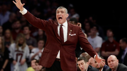 South Carolina head coach Frank Martin reacts in the second half against Florida during the East Regional championship game of the NCAA men's college basketball tournament, Sunday, March 26, 2017, in New York. (AP Photo/Frank Franklin II)