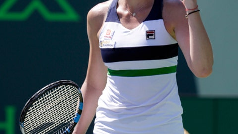 Carolina Pliskova, of the Czech Republic, pumps her fist after defeating Mirjana Lucic-Baroni, 6-3, 6-4, at the Miami Open tennis tournament, Tuesday, March 28, 2017, in Key Biscayne, Fla. (AP Photo/Lynne Sladky)
