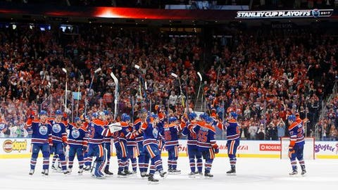 Edmonton Oilers celebrate the win over the Los Angeles Kings at the end of the third period of an NHL hockey game in Edmonton, Alberta, Tuesday, March 28, 2017. The Oilers won, 2-1. (Jason Franson/The Canadian Press via AP)