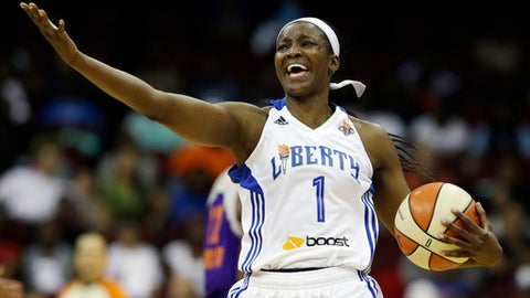 New York Liberty's Delisha Milton-Jones reacts in the first half of a WNBA basketball game against the Phoenix Mercury, Tuesday, Sept. 10, 2013, in Newark, N.J. (AP Photo/Julio Cortez)