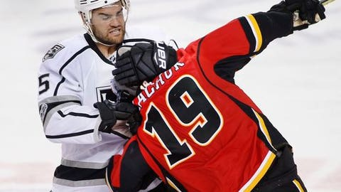 Los Angeles Kings' Andy Andreoff, left, grabs the head of Calgary Flames' Matthew Tkachuk during the second period of an NHL hockey game in Calgary, Alberta, Wednesday, March 29, 2017. Andreoff gets an unsportsmanlike conduct penalty for grabbing Tkachuk's head. (Larry MacDougal/The Canadian Press via AP)