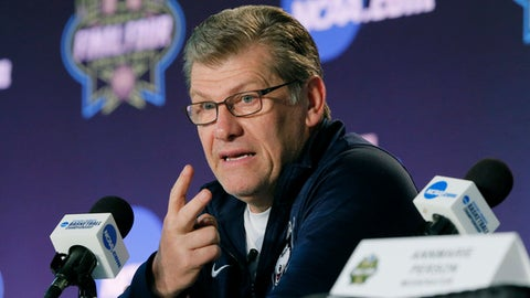 Connecticut head coach Geno Auriemma talks to the media during a news conference at the women's NCAA Final Four college basketball tournament, Thursday, March 30, 2017, in Dallas. Connecticut will play Mississippi State on Friday. (AP Photo/Tony Gutierrez)