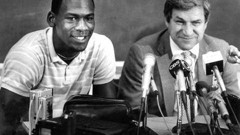 FILE - In this May 5, 1984, file photo, North Carolina guard Michael Jordan, left, and Tar Heels coach Dean Smith are shown at a news conference in Chapel Hill, N.C. (AP Photo, File)