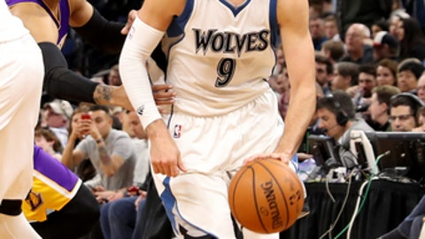MINNEAPOLIS, MN -  MARCH 30: Ricky Rubio #9 of the Minnesota Timberwolves handles the ball against the Los Angeles Lakers on March 30, 2017 at Target Center in Minneapolis, Minnesota. NOTE TO USER: User expressly acknowledges and agrees that, by downloading and or using this Photograph, user is consenting to the terms and conditions of the Getty Images License Agreement. Mandatory Copyright Notice: Copyright 2017 NBAE (Photo by Jordan Johnson/NBAE via Getty Images)