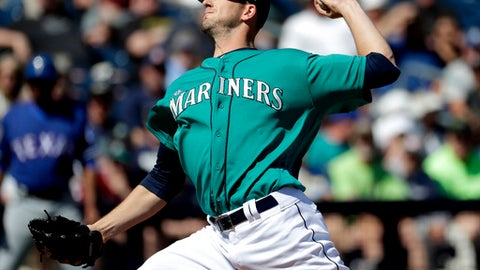 FILE - In this March 6, 2017, file photo, Seattle Mariners starting pitcher Drew Smyly throws against the Texas Rangers during the first inning of a spring training baseball game in Peoria, Ariz. Smyly will begin the season on the disabled list and could be out up to two months because of a strained left elbow. General manager Jerry Dipoto said Friday, March 31, 2017, that Smyly likely will miss six to eight week. He will rehab the injury and surgery is not expected, but he likely will get a second opinion. (AP Photo/Matt York, File(
