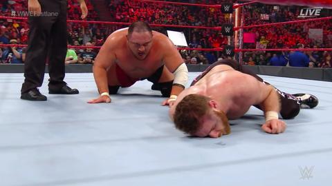 Samoa Joe defeated Sami Zayn by submission