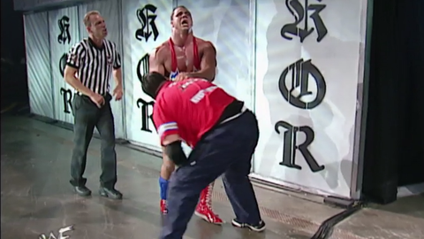 Angle on suplexing Shane McMahon through a pane of plexiglass