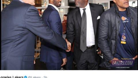 Kobe, Phil, Rick Fox and James Worthy