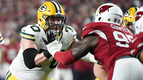 January 16, 2016; Glendale, AZ, USA; Green Bay Packers guard T.J. Lang (70) blocks Arizona Cardinals nose tackle Rodney Gunter (95) during the second quarter in a NFC Divisional round playoff game at University of Phoenix Stadium. The Cardinals defeated the Packers 26-20 in overtime. Mandatory Credit: Kyle Terada-USA TODAY Sports