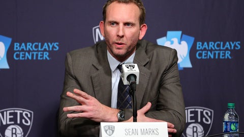 Feb 19, 2016; Brooklyn, NY, USA; Brooklyn Nets new general manager Sean Marks speaks to the media during a press conference before a game against the New York Knicks at Barclays Center. Mandatory Credit: Brad Penner-USA TODAY Sports