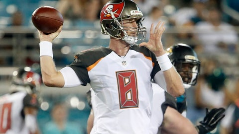 Aug 20, 2016; Jacksonville, FL, USA;  Tampa Bay Buccaneers quarterback Mike Glennon (8) drops to throw a pass during the third quarter of a football game against the Jacksonville Jaguars at EverBank Field. Mandatory Credit: Reinhold Matay-USA TODAY Sports