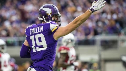 Nov 20, 2016; Minneapolis, MN, USA; Minnesota Vikings wide receiver Adam Thielen (19) celebrates a first down during the first quarter against the Arizona Cardinals at U.S. Bank Stadium. Mandatory Credit: Brace Hemmelgarn-USA TODAY Sports