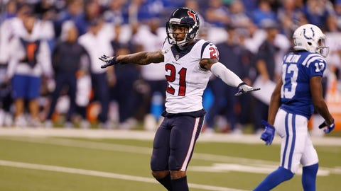 Dec 11, 2016; Indianapolis, IN, USA; Houston Texans cornerback A.J. Bouye (21) reacts to breaking up a pass against the Indianapolis Colts at Lucas Oil Stadium. Mandatory Credit: Brian Spurlock-USA TODAY Sports