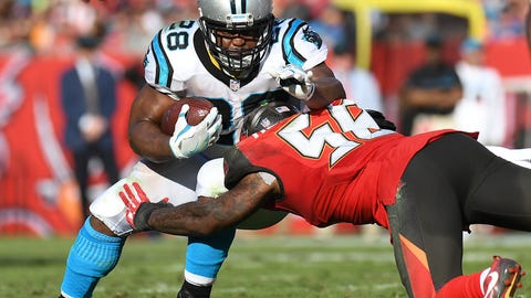 Jan 1, 2017; Tampa, FL, USA;  Carolina Panthers running back Jonathan Stewart (28)  runs the ball in the second half  against the Tampa Bay Buccaneers at Raymond James Stadium. The Tampa Bay Buccaneers defeated the Carolina Panthers 17-16. Mandatory Credit: Jonathan Dyer-USA TODAY Sports