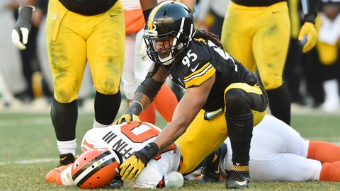 Jan 1, 2017; Pittsburgh, PA, USA; Pittsburgh Steelers outside linebacker Jarvis Jones (95) gets up after sacking Cleveland Browns quarterback Robert Griffin III (10) during the second half at Heinz Field. The Steelers won 27-24 in overtime. Mandatory Credit: Ken Blaze-USA TODAY Sports