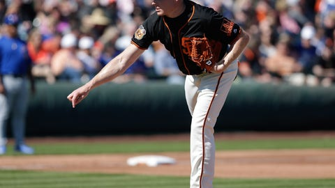 Feb 25, 2017; Scottsdale, AZ, USA; San Francisco Giants pitcher Mark Melancon throws in the fourth inning against the Chicago Cubs during a spring training game at Scottsdale Stadium. Mandatory Credit: Rick Scuteri-USA TODAY Sports