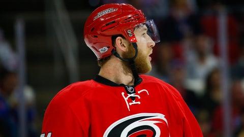 Mar 9, 2017; Raleigh, NC, USA; Carolina Hurricanes defensemen Jaccob Slavin (74) waits for the face off against the New York Rangers at PNC Arena. The Carolina Hurricanes defeated the New York Rangers 4-3. Mandatory Credit: James Guillory-USA TODAY Sports