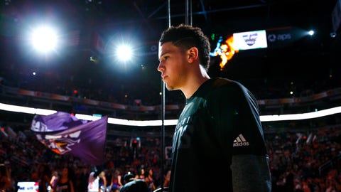 Mar 12, 2017; Phoenix, AZ, USA; Phoenix Suns guard Devin Booker prior to the game against the Portland Trail Blazers at Talking Stick Resort Arena. Portland defeated Phoenix 110-101. Mandatory Credit: Mark J. Rebilas-USA TODAY Sports