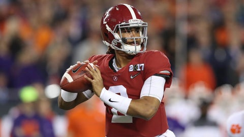 TAMPA, FL - JANUARY 09: Alabama Crimson Tide quarterback Jalen Hurts (2) delivers a pass during the 2017 College Football National Championship Game between the Clemson Tigers and Alabama Crimson Tide on January 9, 2017, at Raymond James Stadium in Tampa, FL. Clemson defeated Alabama 35-31. (Photo by Mark LoMoglio/Icon Sportswire via Getty Images)