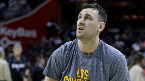 Cleveland Cavaliers' Andrew Bogut warms up before an NBA basketball game between the Miami Heat and the Cleveland Cavaliers, Monday, March 6, 2017, in Cleveland. (AP Photo/Tony Dejak)