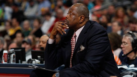 Charlotte Hornets assistant coach Patrick Ewing in the first half of an NBA basketball game Saturday, March 4, 2017, in Denver. (AP Photo/David Zalubowski)
