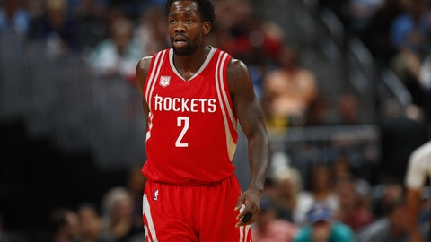 Houston Rockets guard Patrick Beverley (2) in the first half of an NBA basketball game Saturday, March 18, 2017, in Denver. (AP Photo/David Zalubowski)