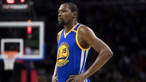 Golden State Warriors' Kevin Durant looks on during the first half of an NBA basketball game against the Philadelphia 76ers, Monday, Feb. 27, 2017, in Philadelphia. The Warriors won 119-108. (AP Photo/Chris Szagola)