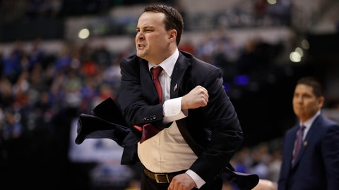 Dayton head coach Archie Miller reacts during the first half of a first-round game against Wichita State in the men's NCAA college basketball tournament Friday, March 17, 2017, in Indianapolis. (AP Photo/Jeff Roberson)