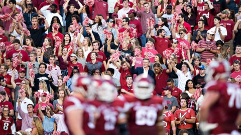 FAYETTEVILLE, AR - OCTOBER15:  Fans of the Arkansas Razorbacks cheer during a game against the Mississippi Rebels at Razorback Stadium on October 15, 2016 in Fayetteville, Arkansas.  The Razorbacks defeated the Rebels 34-30.  (Photo by Wesley Hitt/Getty Images) *** Local Caption ***