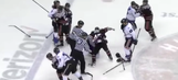 Hockey player deliberately shoots puck into opposing bench, sparks brawl